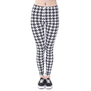 Black & White Aztec Owl Printed Leggings - Trendy Staples