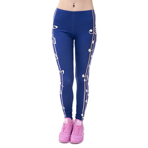 Blue Musical Printed Leggings - Trendy Staples