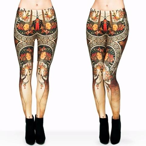 Alphons Mucha Printed Leggings - Trendy Staples