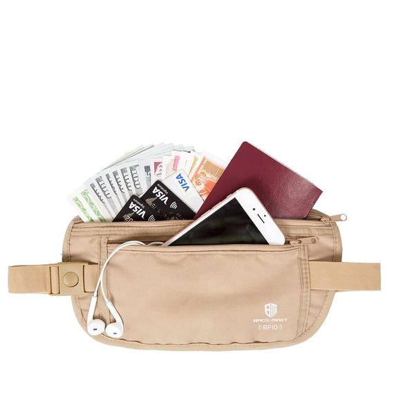 RFID Blocking Hidden Travel Money Waist Belt Wallet - Trendy Staples