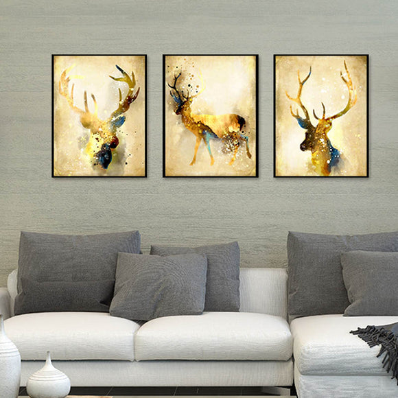 Nordic Abstract Gold Deer Elk Painting Canvas Art Print - Trendy Staples