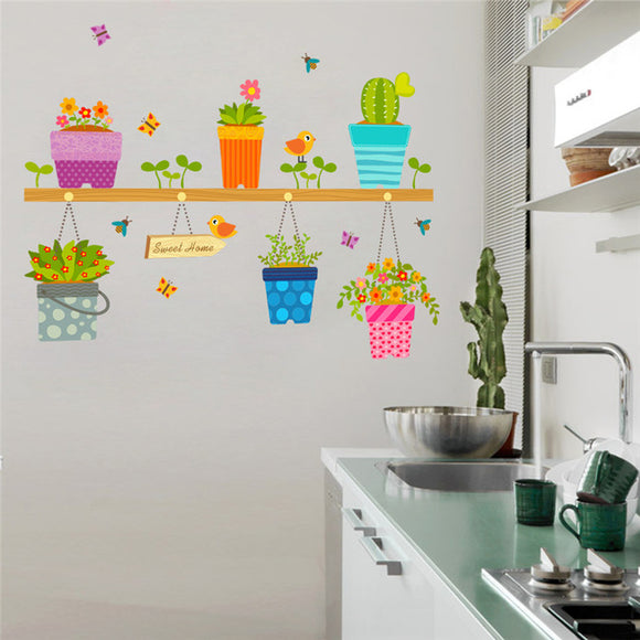 Butterflies, Potted Flowers & Cactus Wall Stickers - Trendy Staples