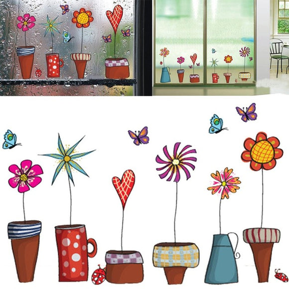 Whimsical Potted Flowers Wall Stickers - Trendy Staples