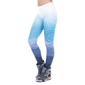 Blue Swirl Pine Silhouette Printed Leggings - Trendy Staples