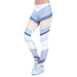 Sky Blue Grid Printed Leggings - Trendy Staples