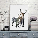 Deer Family Silhouette in Pine Forest Canvas Art Print - Trendy Staples