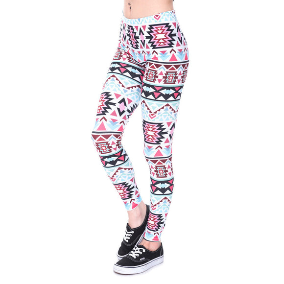 Light Blue Black Aztec Printed Leggings - Trendy Staples