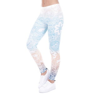 Peach Blue Mandala Print Printed Leggings - Trendy Staples