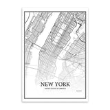 New York, London, Paris City Grid Map Canvas Art Print - Trendy Staples