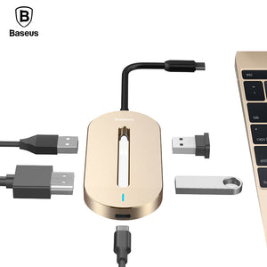 Baseus Universal Multi HUB Type-C Converter (HDMI, USB 3.0, Type-C Female) Adapter Cable For Macbook Pro Type-C Notebooks - Trendy Staples
