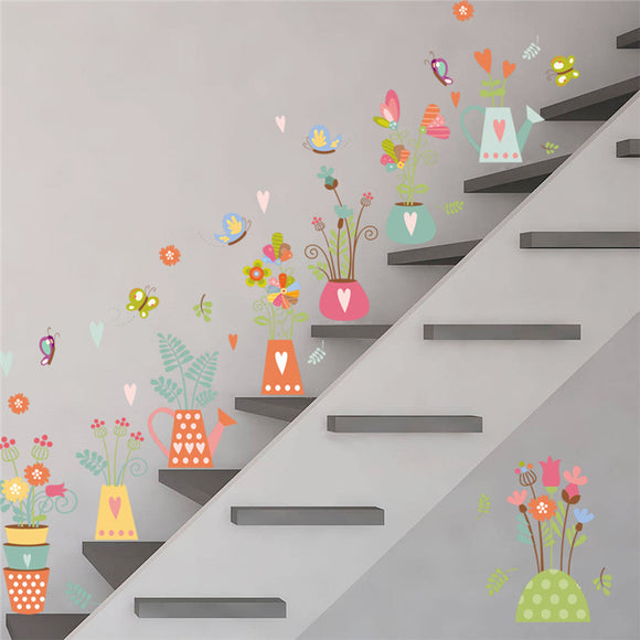 Pastel Butterflies, Potted Flowers & Hearts Wall Stickers - Trendy Staples