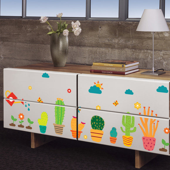 Cartoon-Like Flowers & Potted Cacti Wall Stickers - Trendy Staples