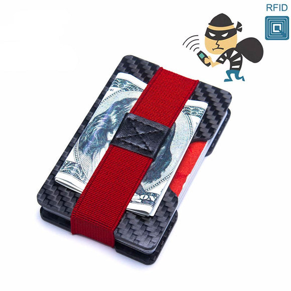 RFID Blocking Carbon Fiber Mini Slim Wallet - Trendy Staples