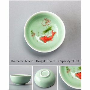 Handcrafted Chinese Celedon Porcelain Fish Teacup - Trendy Staples