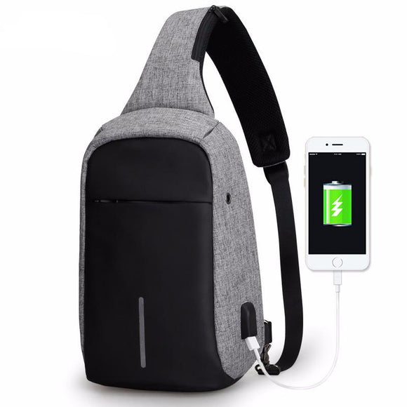 Mark Ryden Strip Series Anti-Theft Water-Resistant Cross Body Shoulder Bag With USB Charging Port - Trendy Staples