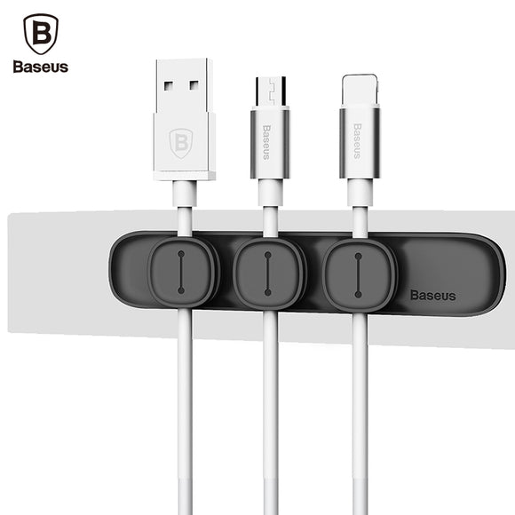 Baseus Magnetic Cable Clip USB Cable Organiser Clamp Desktop Workstation Charging Wire Cord Management - Trendy Staples