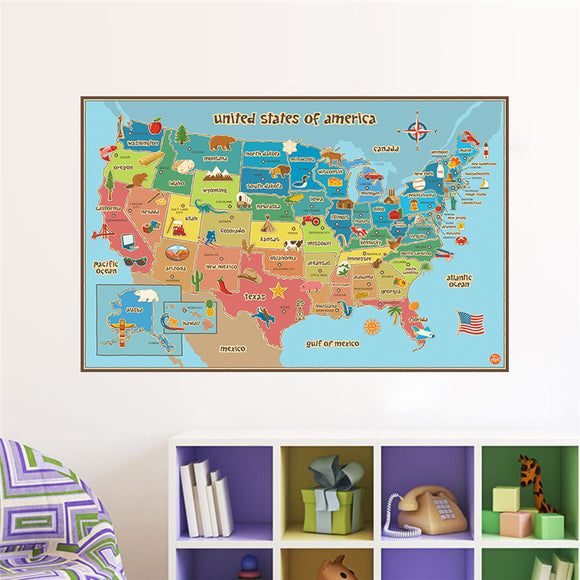United States Map Wall Sticker For Kids - Trendy Staples