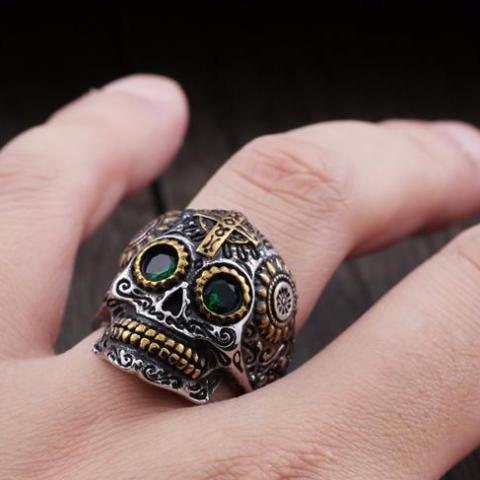 Calavera Sugar Skull Stainless Steel Ring - Trendy Staples