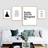 Minimalist Lips Silhouette Butterfly Motivational Quotes Wall Art Canvas Art Print For Women - Trendy Staples