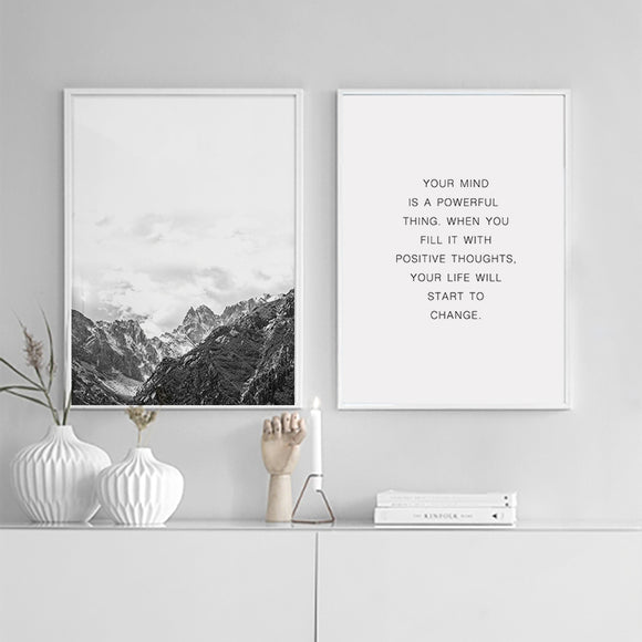 Nordic Mountain Range - Your Mind Is A Powerful Thing Canvas Art Print - Trendy Staples