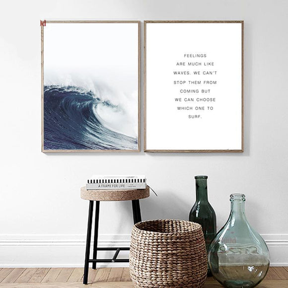 Wave Of The Sea - Feelings Are Much Like Waves Canvas Art Print - Trendy Staples