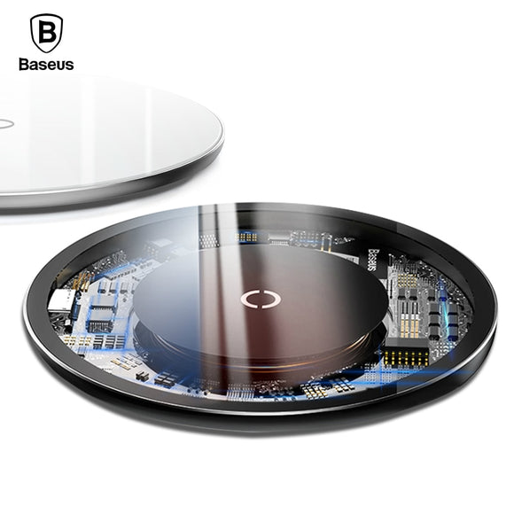 Baseus Glass 10W Qi Wireless Charger For Qi Wireless Charge Enabled Devices - Trendy Staples