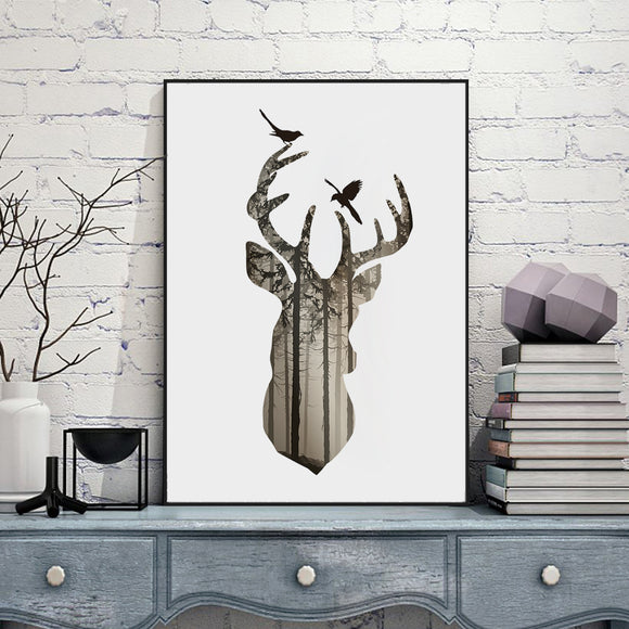 Deer Head Silhouette In Pine Forest Canvas Art Print - Trendy Staples