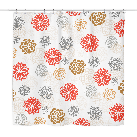 Japanese Hand-Drawn Floral Pattern Shower Curtain (3 Variants) - Trendy Staples