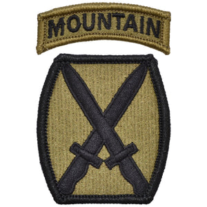 Tactical Gear Junkie Insignia 10th Mountain Division Patch with Mountain Tab - OCP/Scorpion