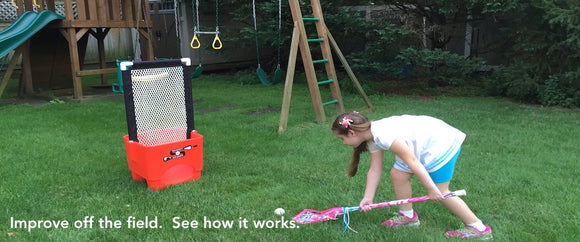 Play lacrosse in your backyard, beach, basement, anywhere and improve lacrosse skills while having fun