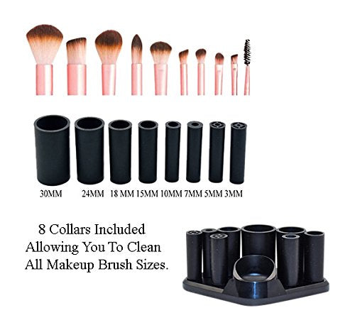 Makeup Brush Cleaner - By MBM – Automatic Makeup Brush Cleanser Kit – Professionally Cleans And Dries All Makeup Brushes - 8 Rubber Adapters Included Fitting All Makeup Brushes