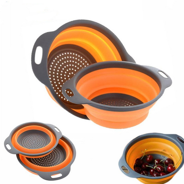 2pcs/set Foldable Silicone Colander Fruit & Vegetable Washing Strainer
