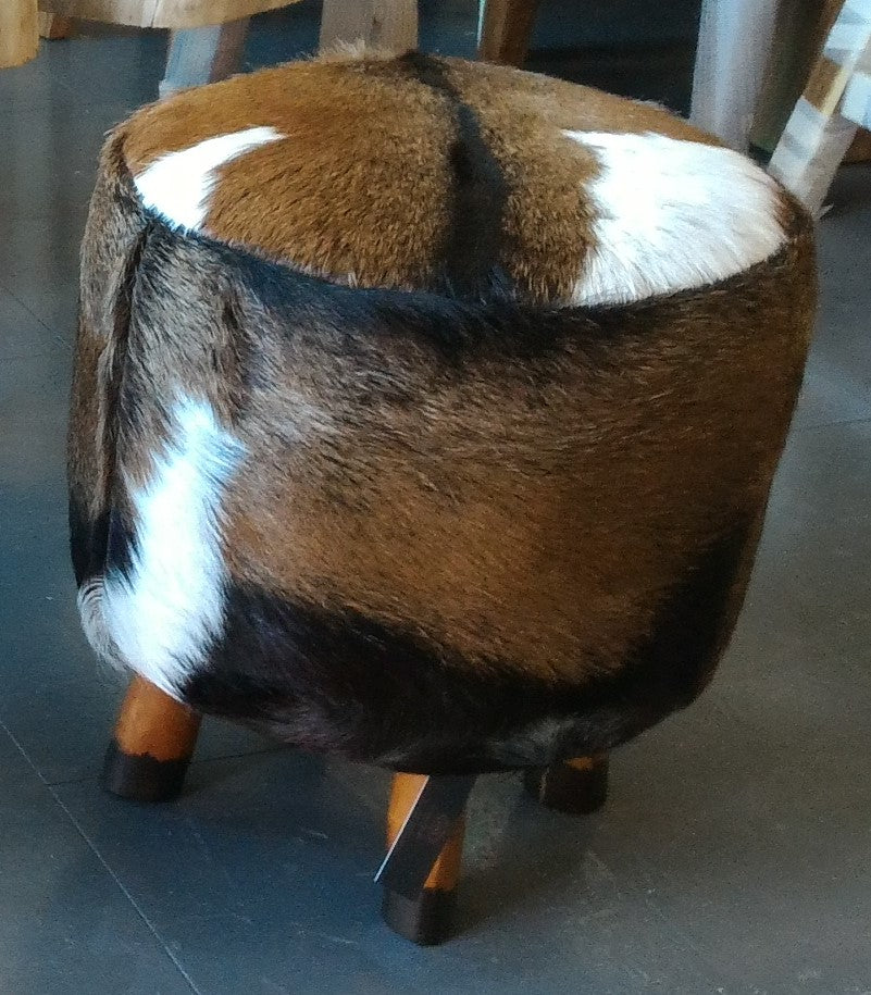 Handcrafted Leather Wooden Stool