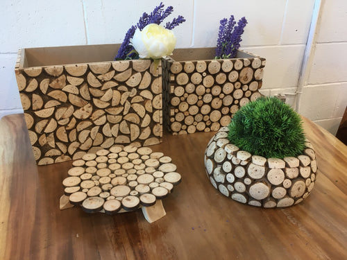 Artistic Wooden Garden Box (4 Pieces) Garden Decoration, Indoor Circle Wooden Chip Gardening Pot, Rustic Wood Indoor Garden Stand, pot, Box