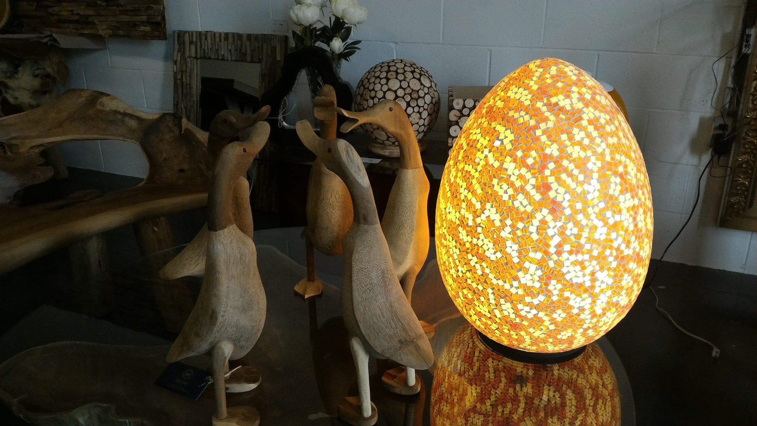 Handcrafted Mosaic Egg Table Lamp (Orange & White) & Accent Lighting