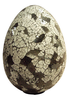 Handcrafted Mosaic Egg Table Lamp (Beige & Grey) & Accent Lighting