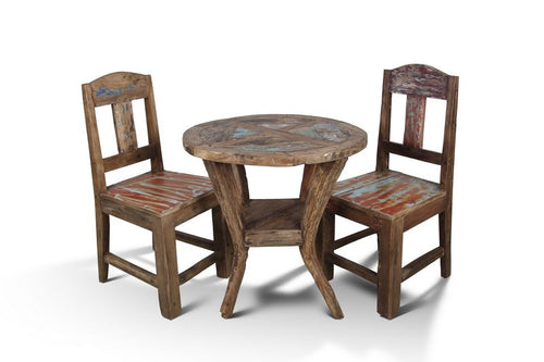 Handcrafted Reclaimed Boat Wood Round Bistro Table (65cm x 65cm) and Chair set - One Set only