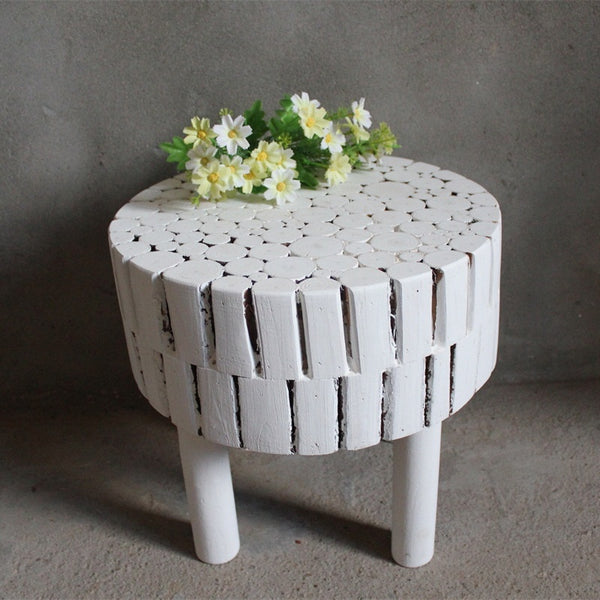 Handmade Fir Solid Wood Stool, White Accent Table, Side