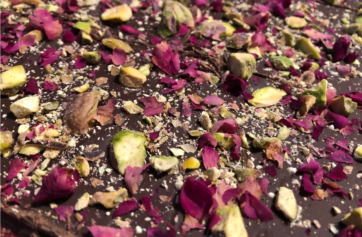 **New Year & Valentines Gift** [Set of 10] Handmade Gourmet Rose Petal Pistachio Dark Chocolate Bar