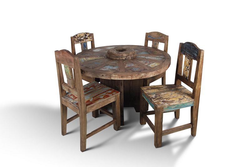 Boat Wood Reclaimed Chair Dining Table Handmade Exotic Rustic Solid Wood Furniture Live Edge Toronto NosNatura.com