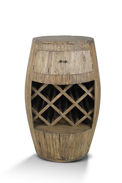 Clearance Sale! Giant Teak Wine Barrel Rack (Extra Large 115cm) - Rustic Wine Collection