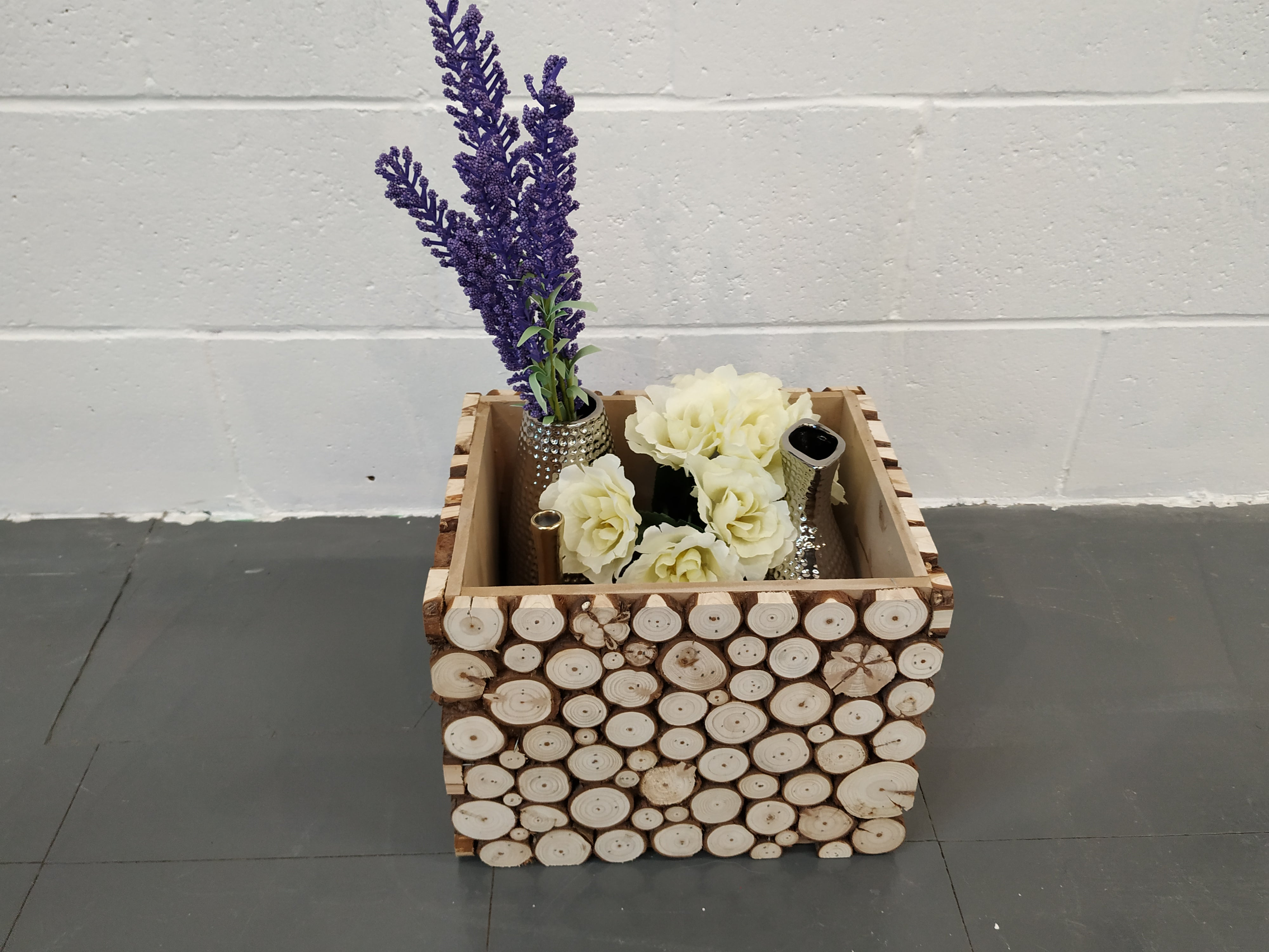 """Full Moon"" Rustic Wooden Storage Box, Vase and Planter"