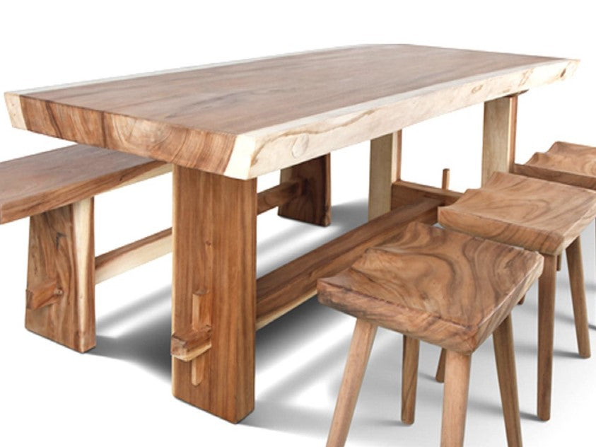Live Edge Solid Wood Slab Table  200cm  with Asymmetric Slab Wooden Legs. Buy Quality Beautiful Live Edge Solid Wood Dining Table For Sale
