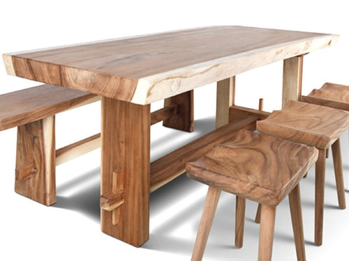 Live Edge Solid Wood Slab Table (200cm) with Asymmetric Slab Wooden Legs - floor model