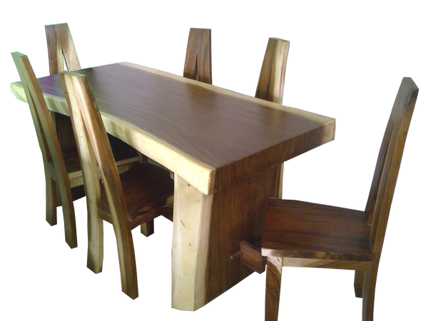 Home Office Furniture At Wooden Furniture Store: Handmade Live Edge Suar Slab Dining Table With Wooden Legs