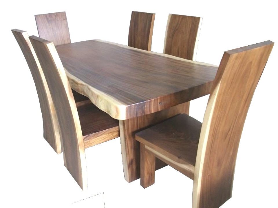 Live Edge Suar Slab Dining Table  200cm  with Slab Wooden Legs. Handmade Live Edge Suar Slab Dining Table with Wooden Legs For