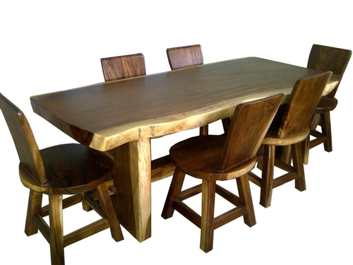 Showroom Sale! Live Edge Slab Solid Wood Table (200cm) with Wooden Slab Legs