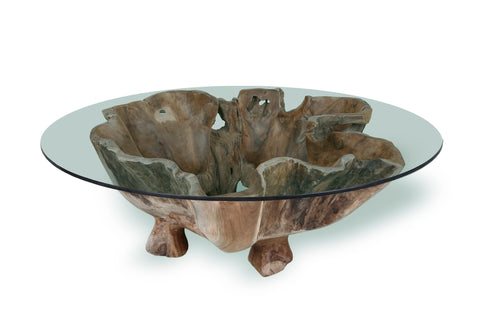 Marvelous Natural Teak Root Coffee Table (Round) With Glass Top