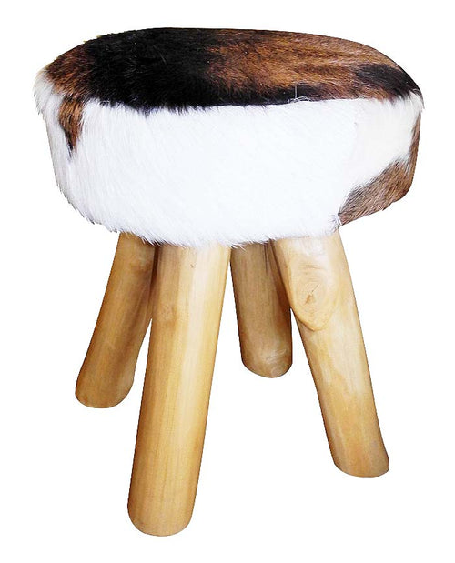 Handcrafted Leather Wooden Stool (Brown & White)