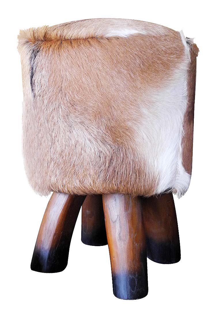 Modern Mid-Century Scandinavian Industrial cowboy Goat Hide Stool home accent decor brown live edge solid wood furniture Toronto nos natura